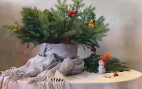 Picture leaves, branches, berries, table, new year, spruce, scarf, snowman, tree, still life, bumps, figure