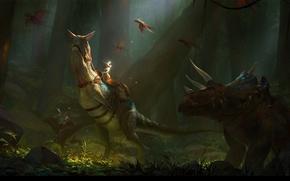 Picture by 6kart, sunbeam, dinosaur, art, rider, art, figure, dinosaur, haze, forest, fantasy, forest, sunbeam, rider, …