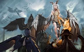 Picture girls, wings, fantasy, art, horns, guys, demons, scars
