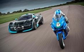 Picture road, Machine, Motorcycle, Moto, Citroen, Survolt, The front, In Motion, Agni