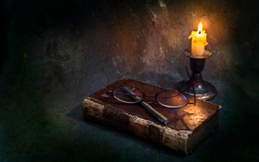 Picture candle, glasses, book, wax, Just memories