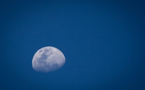 Picture the moon, the sky, blue, space