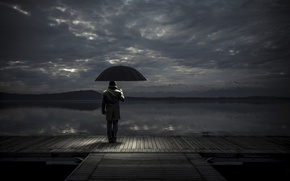 Picture umbrella, pier, male, waiting