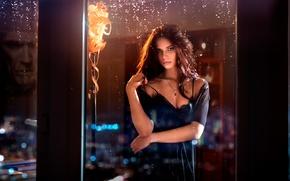 Picture look, drops, night, window, neckline