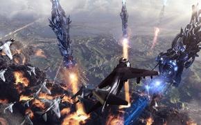 Picture aviation, explosions, battle, the battle, vehicle, invasion, entropy