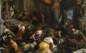 Picture people, picture, religion, the Bible, mythology, Francesco Bassano, The expulsion of the Merchants from the …
