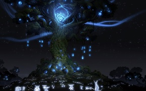 Picture night, lights, tree, spirit, animals, Ori And The Blind Forest