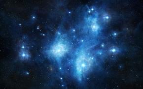 Picture the sky, a stellar nebula, cluster of stars