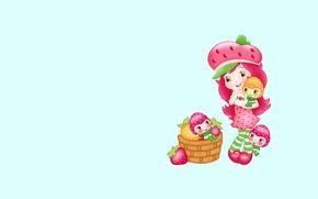 Picture girl, children's, berry, background. art, basket. summer