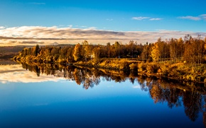 Picture autumn, forest, the sky, clouds, lake, house, reflection