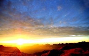 Picture the sky, sunset, mountains, tops