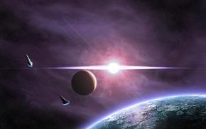 Picture stars, lights, planet, satellite, flash, spaceships