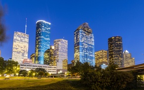 Wallpaper skyscrapers, bridge, home, trees, lights, the evening, Houston, lights, Texas, USA
