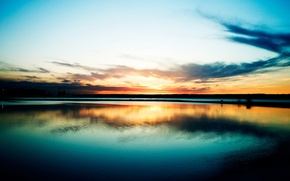 Picture city, lake, sunrise