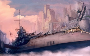Picture fog, the plane, weapons, castle, ship, soldiers