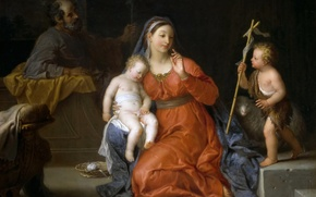 Picture picture, religion, mythology, Michel-Ange Houasse, The Holy Family with Saint John the Baptist