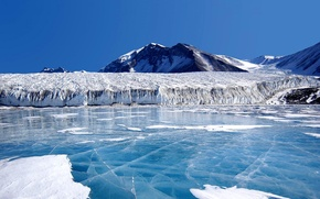 Picture ice, the sky, mountains, lake, glacier