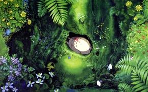 Picture forest, leaves, flowers, Nora, girl, lies, Hayao Miyazaki, Hayao Miyazaki, Tonari no Totoro, my neighbor …