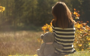 Picture sadness, autumn, girl, memories, bear, girl, one, bear, autumn, miss