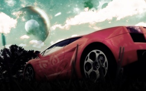 Picture the sky, red, planet, disk, lamborghini