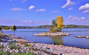 Picture autumn, the sky, clouds, trees, lake, island