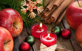 Picture balls, decoration, branches, apples, toys, candles, New Year, Christmas, red, the scenery, cinnamon, Christmas, holidays, …