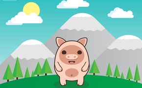 Picture forest, the sky, clouds, snow, trees, mountains, pig