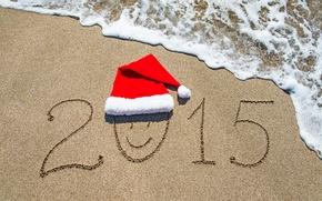 Picture sand, sea, beach, beach, sea, sand, New Year, Happy, 2015, santa hat, Happy New Year
