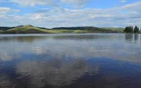 Picture forest, mountains, reflection, Karabash reservoir