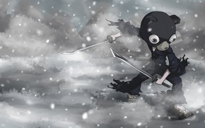 Picture snow, weapons, anime, art, Kuma Sig by