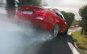 Picture BMW, Orange, Red, Race, Cars, Smoke, Rear, Drifting