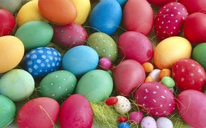 Picture macro, red, yellow, blue, eggs, spring, Easter, green, colorful, close-up, a lot, spring, Easter, eggs, …