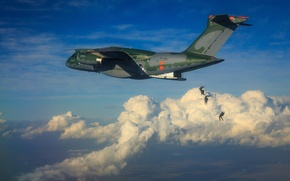 Wallpaper KC-390, FAB, Embraer, Brazilian Air Force, Force Air Brazilian, military aircraft, paratroopers