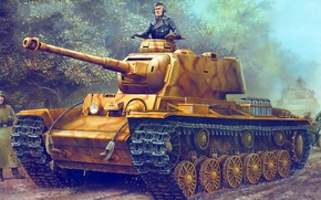 Picture figure, Germany, art, Heavy tank, Klim Voroshilov, 756(r), Pz.Kpfw. KV-1B, 75 mm KwK40 L48, the ...