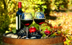 Picture bottle, barrel, wine, red, grenades, leaves, glasses, grapes, autumn