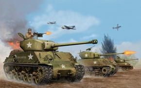 Picture art, tank, USA, game, the, offensive, average, Sherman, Flames of War, WW2., troops, 1944, the …