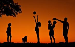 Picture joy, children, family, silhouettes