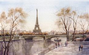 Picture bridge, the city, river, figure, Eiffel tower, Paris, France