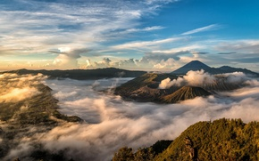 Picture clouds, landscape, nature, Indonesia, Java, Indonesia, the volcano Bromo, Bromo-Tengger-Semeru National Park, Caldera Tengger