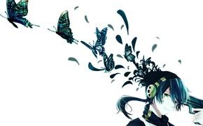 Picture butterfly, smile, gun, anime, headphones, art, guy, konoha, kagerou project, icchan