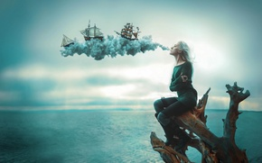 Picture dream, flight, blow, wind, ships, illusion, gust
