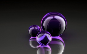 Wallpaper purple, balls, glass, the reflection