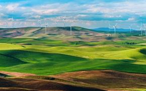 Picture field, Washington, USA, state, wind turbines, Wind turbines, wind farms