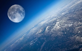 Picture view, planet, The moon, Earth
