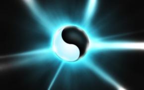 Picture rendering, white, ball, black, Yin-Yang