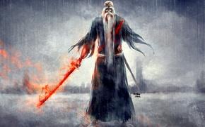Picture rain, blood, sword, grandpa, Bleach, Bleach, art, nanfe, yamamoto genryuusai as