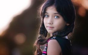 Picture portrait, girl, braids, bokeh
