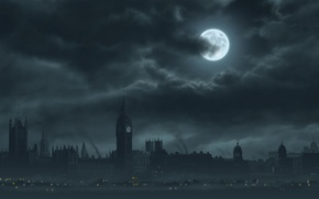 Picture the moon, London, dark, london