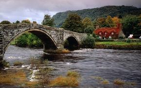 Wallpaper house, bridge, river