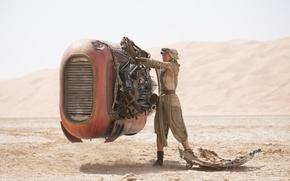 Picture desert, mechanism, robot, Star Wars, Star Wars, The Force Awakens, Daisy Ridley, Daisy Ridley, The …